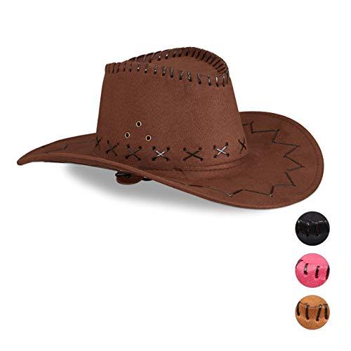 Relaxdays Cappello da Cowboy/Cowgirl per Feste di Carnevale, Stile Western, per Adulti, Uomo o Donna Unisex, Marrone Scuro, 10024992_746