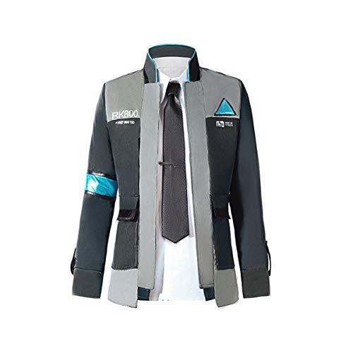 Comtervi Detroite Become Humann Cosplay Kostüme Uniform Mantel Hemd Krawatte Spiel Bekleidung (Mantel+Hemd+Krawatte) (2XL) (Connor Kostüm)