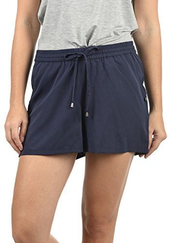 Blend She Amal Damen Chino Shorts Bermuda Kurze Hose mit Print und Kordel Loose Fit, Größe:XXL, Farbe:Mood Indigo (20064) (Absolute Jersey)