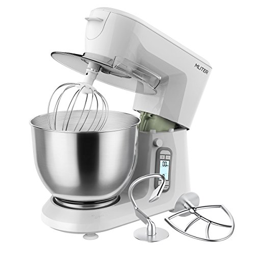 MLITER 1500W Electric Food Stand Mixer 5 Speed with Digital Touch Panel includes 6.0L Bowl, Dough Hook, Whisk, Beater & Splash Guard Baking Mixer for Thanksgiving Wedding Party Xmas Ivory White