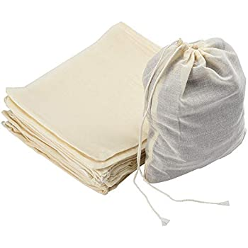 Z-synka Organic Cotton Muslin Produce Bags,Biodegradable Eco-Friendly Bags,Travel Pouch,Sachet Bags,Home and Vegetable Storage,Canvas Tote 8x12 +2 Medium 5x6 +2 Large 2 Small 12x16