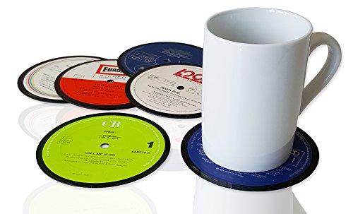 6 er Set Retro Vinyluntersetzer, Vintage Glasuntersetzer bzw. Bierdeckel für Getränke aus echten Vinyl-Schallplatten, Untersetzer für Gläser und Tassen Ø 11cm, Upcycling by JamOnMedia (Beatles-rotes Vinyl)