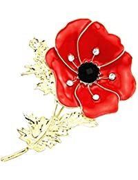 Crystal Flower Brooch Pin Badge Glitter Soldier Enamel Lapel Plating Pin Gift For Remembrance Day