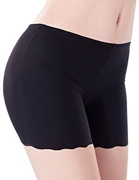 TININNA Confortevole Morbida Anti svuotato Mutandine Pantaloncini Intimo in seta Culotte Shorts per Donne(Nero)