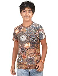 cdac5e2c281 Amigos Antique Old Analock Clocks All Over Digital Printed Blue Color Round  Neck Half Sleeve Boys