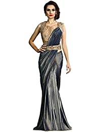 Odhni Women's Zari Work Embroidery Saree With Blouse Piece (OD-MAH-4612-A_Grey)