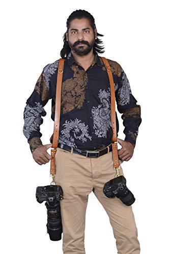 Handgefertigter Schultergurt für Zwei Kameras, Echtes Leder, Braun -
