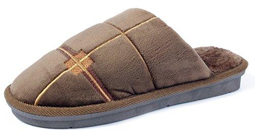 AgeeMi Shoes Unisex Erwachsene Rund Schließen Zehe Pantoffeln Flache Hausschuhe,EuT02 Kaffee 270(38/39)