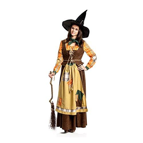 Kostümplanet® Hexen-Kostüm Damen Hexe Erwachsene orange-braun Größe 48-50