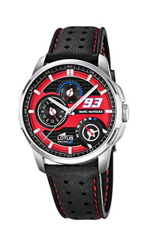 Lotus Marc Marquez Collection 2015 Men's Quartz Watch with Red Dial Analogue Display and Black Leather Strap 18241/2