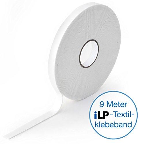 iLP Wonder-Tape 9 m Rolle 10 mm breit - Textil-Klebeband - doppelseitig - perfektes Nähzubehör für professionelle Handarbeiten DiY Fixieren von Textilien - (1 Rolle) (Stoff-gegenstände-taschen)