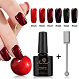 6 Rot Serie Cat Eye Nail Gel Set, saviland Soak Off UV/LED Magnetisch Nagellack Nail Art Maniküre-Set 10 ml + + Gratis Magnet Stick