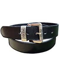 "Men's Black Leather Belt : Gift Boxed : Waist 28"" - 60"" : Made by Milano : 1.5"" Wide"