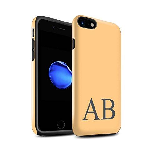 Personalisiert Pastell Monogramm Glanz Zähen Hülle für Apple iPhone 7 / Blaues Design / Initiale/Name/Text Stoßfest Schutzhülle/Case/Etui Orange