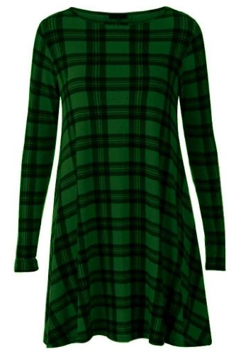 Online Fashion Store New Womens NEW DARK GREEN TARTAN PRINT LONG SLEEVE SCOOP NECK SWING DRESS SIZE 8-22