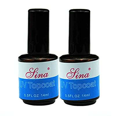 Fashion gallery 2PCS UV Topcoat Top Coat Acrylic Nail Art Gel Polish With Brush Gloss Seal Glaze Faster Tips Nail Tools Gel