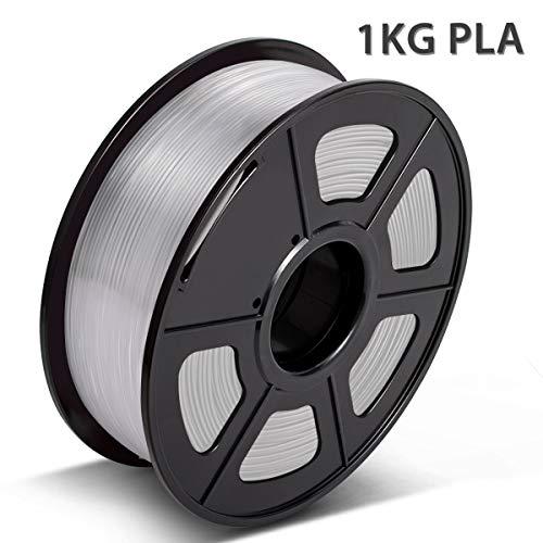 PLA Filament Transparent, 3D Warhorse PLA Filament 1.75mm,PLA 3D Printer Filament,Dimensional Accuracy +/- 0.02 mm, 2.2 LBS(1KG),1.75mm Filament, Bonus with 5M PCL Nozzle Cleaning Filament