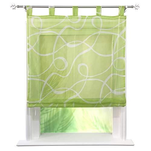 CURTAIN LAND Raffrollo Voile Transparent Rollos mit Druck Muster Gardine Vorhang (BxH 100x150cm, Grün) (Küche Land Vorhänge)