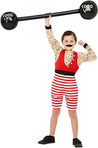 Halloweenia - Jungen Kinder Starker Mann Kirmesboxer Rummelplatz Kostüm, kurzer Jumpsuit und Bart, perfekt für Halloween Karneval und Fasching, 104-116, Rot
