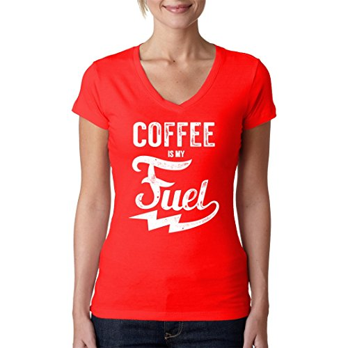 Fun Sprüche Girlie V-Neck Shirt - Coffee Fuel by Im-Shirt Rot
