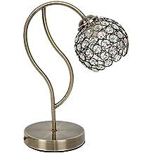Sobremesa habitación o salón | Acabada en Cuero (Oro envejecido) | 1 Luz | Admite LED | Elegante, moderna, clásica, diseño | Excelentes acabados | Cristal máximo brillo