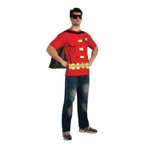 BATMAN Robin Mens Adult T-Shirt Set Costume (T Shirt Robin Erwachsene Kostüme)