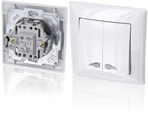Preisvergleich Produktbild UP 2-fach Serienschalter mit LED-Beleuchtung - All-in-One - Rahmen + Unterputz-Einsatz + Abdeckung (Serie G1 reinweiß)