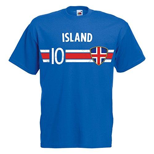 Fußball WM T-Shirt Fan Artikel Nummer 10 - Weltmeisterschaft 2018 - Länder Trikot Jersey Herren Damen Kinder Island Iceland 3XL