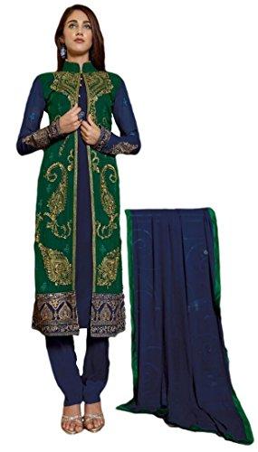 Justkartit Women's Georgette Dress Material (JK3091_Free Size_Blue & Green)