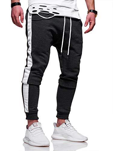 behype. Herren Lange Trainingshose Jogging-Hose Sport-Hose mit Side-Stripe 60-0351 Dunkelgrau-Weiß S