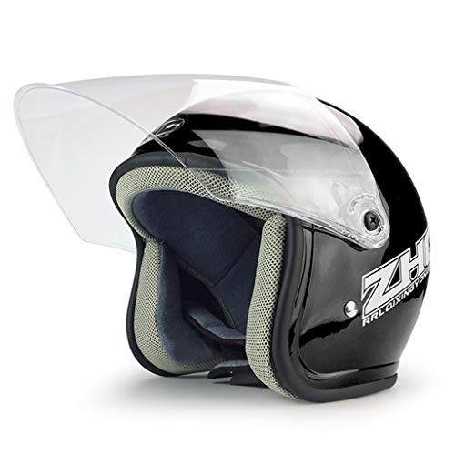 Sportschutzausrüstung- Elektrofahrzeug Half Helmet Herbst und Winter Reithelm Schutzausrüstung (Farbe : SCHWARZ)