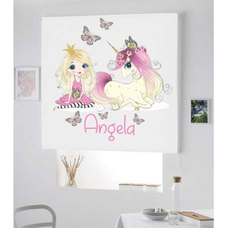 Desconocido Estor Digital Personalizable Princesa Unicornio ¡ESTORES ENROLLABLES TRANSLUCIDOS Personalizado con Nombre! (100X170)