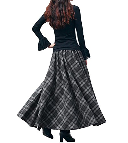 0268f6cd8820 BININBOX Damen Kleid Falten rock Woll rock Tellerrock Lange ...