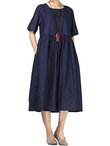 Mallimoda Damen Leinen Sommer Kleider Rundhals Kurzarm Midi Kleid mit Doppelte Taschen Navy M (Die Schule Für Kleidung Neue)