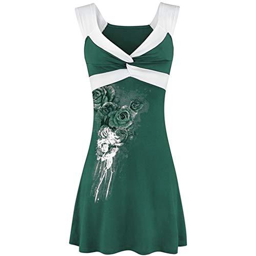 Damen ärmelloses Print T-Shirt Damen Relaxed Casual Tank Top bequem und weich Fitness Tops Toponly XXL Grün 1