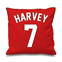 """60 Second Makeover Limited Personalised Football Cushion Cover Red 16"""" x 16"""" Boys Bedroom Son Decorative Cushion Home"""
