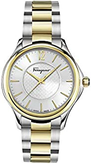 Salvatore Ferragamo Time Women's Quartz Watch With Silver Dial and Two Tone Bracelet Ffv050016, Analog Dis