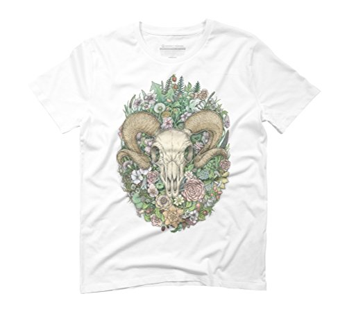 Life's Mystery: Ram Skull Men's Small White Graphic T-Shirt - Design By Humans