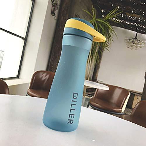 Tfyao Tritan Plastikbecher Einfache und einfache gefrostete Plastikbecher tragbare männliche und weibliche Studenten Hand Cup kreative Gürtel Filter Sport Wasser Cup (Color : Blue) (Nike Gürtel Wasser)