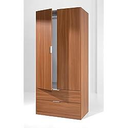 Armario ropero color cerezo con 2 puertas, 2 cajones y barra para colgar ropa de dormitorio. De calidad y económico. 180cm altura x 81cm de ancho x 52cm fondo.