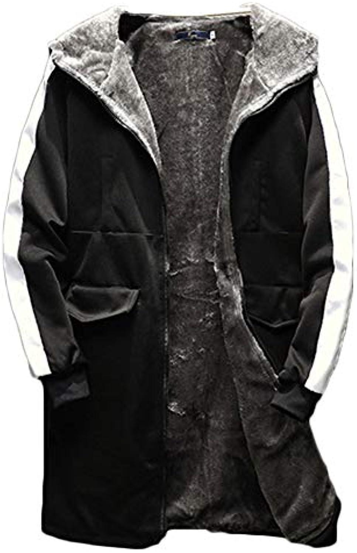 ... Yonglan Cappotto con Cappuccio da Uomo Addensare Mantieni Caldo XL  Giacca con Cappuccio Foderato Nero XL 6506fe52713