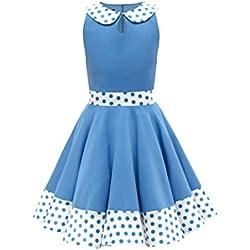 BlackButterfly Niñas 'Zoey' Vestido De Lunares Vintage Años 50 (Azul, 13-14 Años)