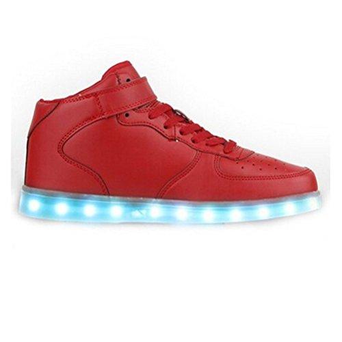 [Presente:piccolo asciugamano]JUNGLEST® Unisex High Top LED lampeggiante scarpe da ginnasti Rosso