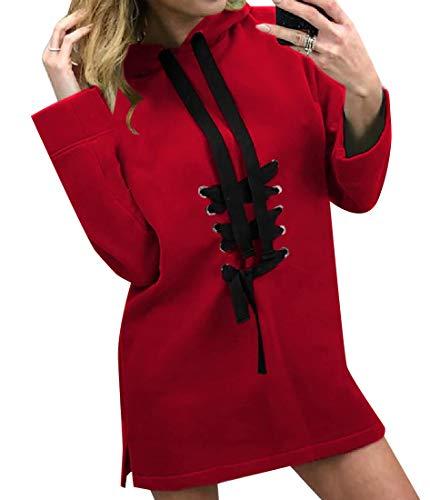 CuteRose Womens Loose-Fit Thigh-Length Criss Cross Jersey Pullover Red XS Jersey Criss Cross