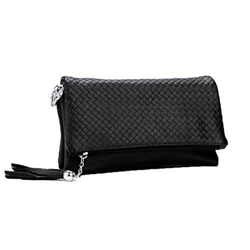 Donalworld Frauen Quaste Reißverschluss Triple-Fach Leder-Kupplungs-Schwarz Handbag Soft PU-Leder Schultertasche (Reißverschluss-tasche 3-fach)
