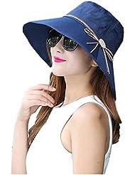 Élégant Capeline Femme Pliable Chapeau de Soleil Anti-UV Coton Respirant Large Bord Visière Décor Boucle Bowknot UPF 50+ Idéal Voyage Plage Été