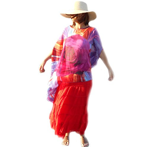 Coklico - Tunique Poncho Grande Taille Rose au centre - 46 48 50 52 54 Parme