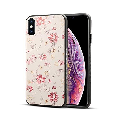 Girlscases® | Hülle kompatibel für iPhone XS, iPhone X / 10 in Schwarz mit Blumen/Flowers Schutzhülle aus Silikon mit Blumen/Flowers Aufdruck/Motiv Glänzend | Farbe: Rosa/Grün/Creme