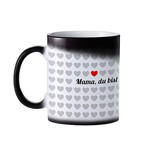 Tasse – 1000 Herzen Farbwechsel Kaffeetasse mit Aufdruck – Mama du bist einzigartig – Standard - Kaffeebecher mit Thermoeffekt als Geschenk-Idee für Mütter – Muttertagsgeschenk