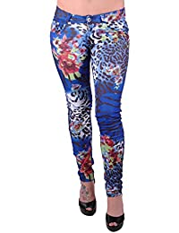 Graphic Womens Fitted Stretch Jean Style Trousers Ladies Printed Pants